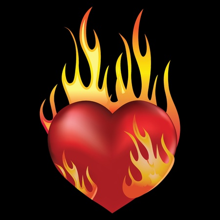 burning heart: Heart love in fire icon tattoo  Valentine day passion illustration isolated on black