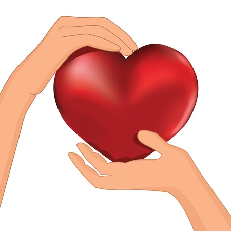 heart pain: Person hold red heart in hand vector  Protection illustration, cardiology, health