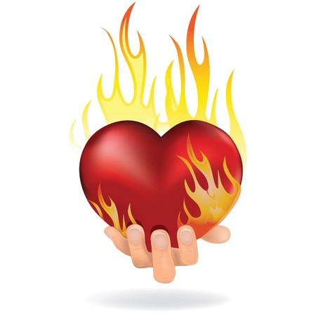 burning man: Heart love in fire icon gift to woman  Valentine day passion illustration