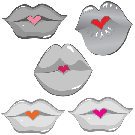pucker: Woman sexy lip heart kiss  Female lipstick hole  Vector art illustration  Smile