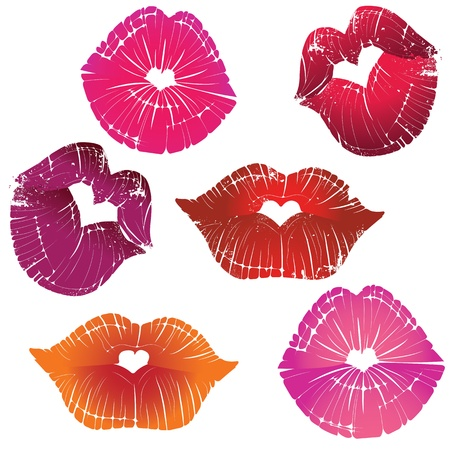 lipstick kiss: Vector lip heart hole, print valentine kiss set, romantic background  Design element  Illustration