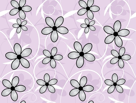 Vector seamless flower background pattern, floral vintage illustration. Cute backdrop Stock Vector - 13324117