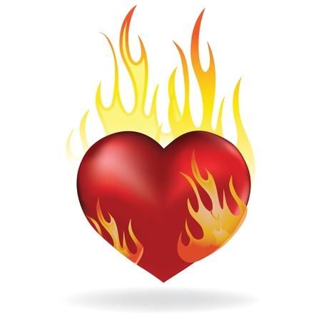Corazón del tatuaje de amor en el fuego icono. Día de San Valentín pasión ilustración.