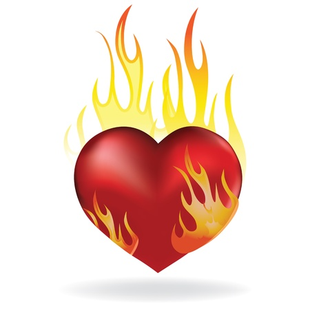 love blast: Heart love in fire icon tattoo. Valentine day passion illustration.