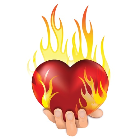 lovestruck: Heart love in fire icon gift to woman. Valentine day passion illustration. Eps10. Illustration