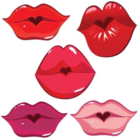 zoenen: Vrouw sexy lip hart kus. Vrouw valentijn gat. Vector kunst illustratie. Smile.