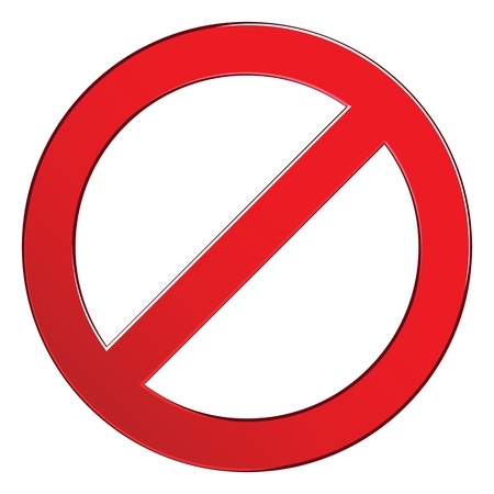 Sign forbidden circle. Prohibited red symbol isolated vector illustration.