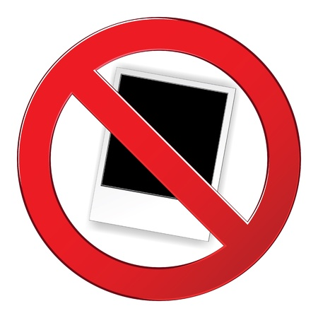 no cameras allowed: Sign forbidden photo circle. Prohibited red symbol against taking photos, using camera isolated vector illustration.