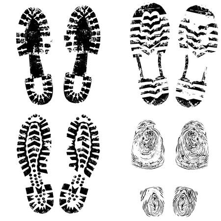 Imprimir del zapato del pie del niño, la recopilación de varias pistas de arranque muy detalladas. Senderismo, elegante, deportivo, botas de montaña oficiales, están incluidos. Grunge ilustración vectorial aislado.