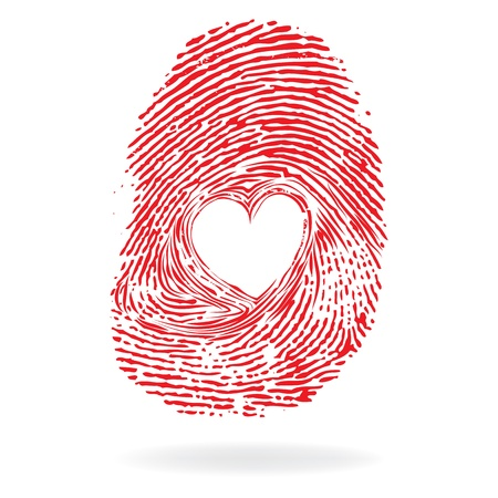 Vector heart, man or woman fingerprint valentine romantic background  Design element  Ilustração