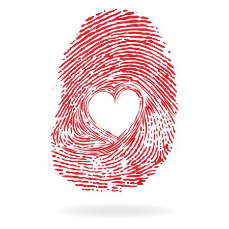 fingerprint: Vector heart, man or woman fingerprint valentine romantic background  Design element  Illustration
