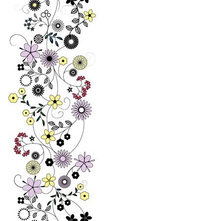 cute wallpaper: Resumen de flores de fondo sin fisuras vector patr�n de la frontera de Arte Floral de textura de tela de dise�o vintage muy lindo fondo de pantalla de dibujos animados rom�ntica femenina filigrana de baldosas Vectores