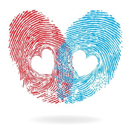 print design: Vector heart, man or woman fingerprint valentine romantic background. Design element. Illustration