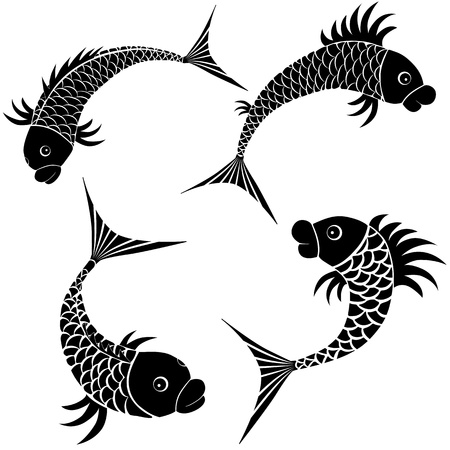 Fish sketch design icon. Vector logo symbol illustration set. Isolated collection on white. Stock Vector - 13607915