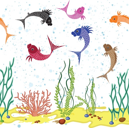 fauna: Fish water world background. Floral vector plant seamless illustration. Sea cartoon wallpaper Illustration