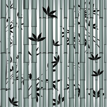 Bamboo seamless asian tropic forest. Wood vector leaf background. Illustration