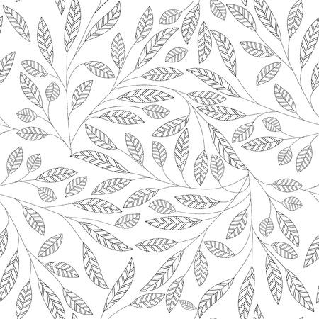 잎 꽃 추상 원활한 벡터 배경입니다. 아트 패턴입니다. 패브릭 질감 빈티지 디자인. 꽤 귀여운 벽지 선조 타일입니다. 일러스트