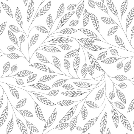 Leaf bloemen abstracte naadloze vector achtergrond. Art patroon. Fabric textuur vintage design. Mooie leuke wallpaper filigraan tegel. Stock Illustratie