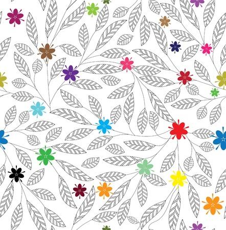 Bloem blad vintage textuur. Abstract patroon. Bloemen naadloze achtergrond. Bladeren behang, gebladerte tegel vector. Stock Illustratie