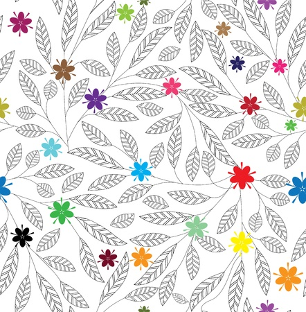 Flower leaf vintage texture. Abstract pattern. Floral seamless background. Leaves wallpaper, foliage tile vector.