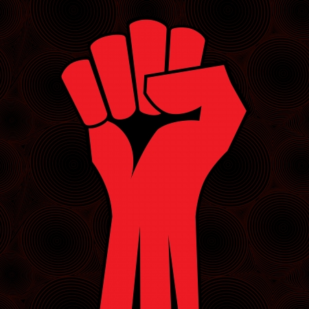 Red clenched fist hand vector. Victory, revolt concept. Revolution, solidarity, punch, strong, strike, change illustration. Vector