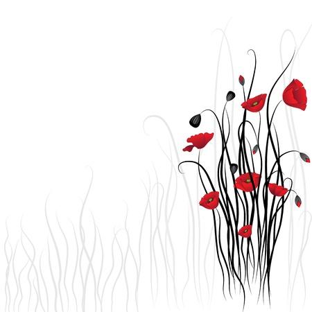 Poppy background. Flower vector background. Art border pattern. Floral vintage design. Pretty cute wallpaper. Feminine filigree Vectores