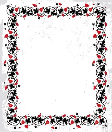 Poppy frame. Flower twisted vector background. Floral Art border pattern. Pretty cute ornament Vector