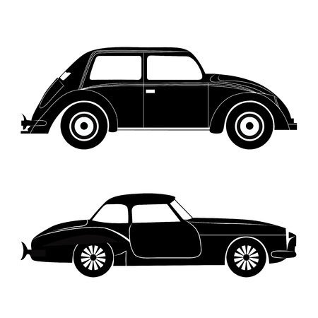 Car silhouette, vector transportation illustration set. Design element isolated on white. Vector