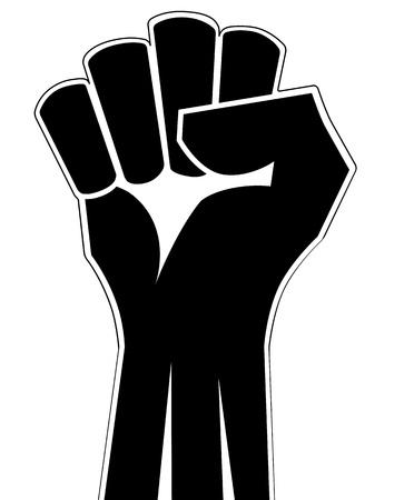 Gebalde vuist de hand vector. Victory, opstand concept. Revolutie, solidariteit, punch, sterk, staking, verandering illustratie.