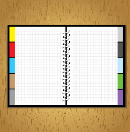 spiral notebook: Web site business design notebook template, vector blank  isolated on wood background