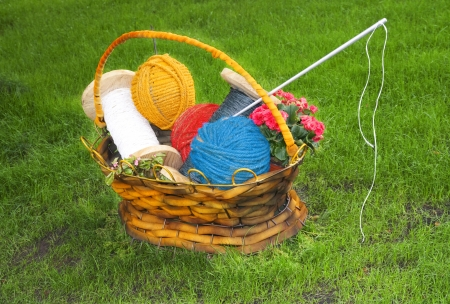 basket embroidery: Flower basket with thread, needle, balls for knitting for hobby as handmade symbol scene on green grass  Stock Photo