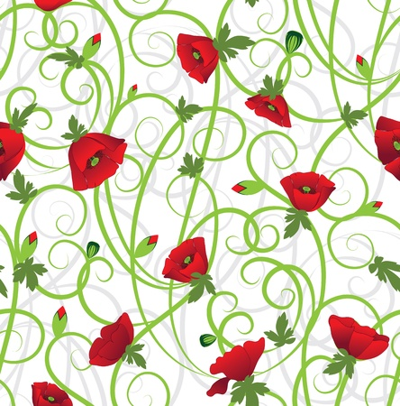 Poppy seamless background. Flower filigree Art border pattern. Floral vintage design. Pretty cute wallpaper. Feminine filigree Illustration