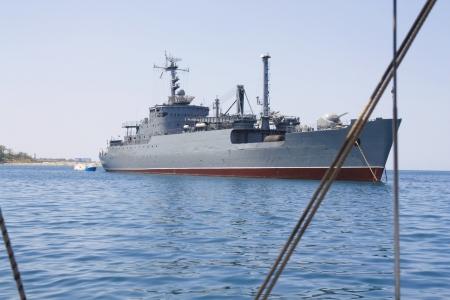 a battleship: Military boat, warship in the Bay of black sea in Sevastopol, Crimea, Ukraine