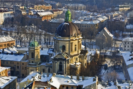 Historical centre of Lviv  Lvov in western Ukraine. Panoramic view of the city in Europe with Uspensky church and Dominican cathedral Stock Photo