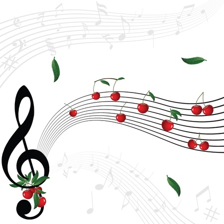 Music notes as cherry berry with floral wave pattern on white background. Vector