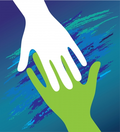 community help: Hand of the child in father encouragement help. Support moral. Illustration