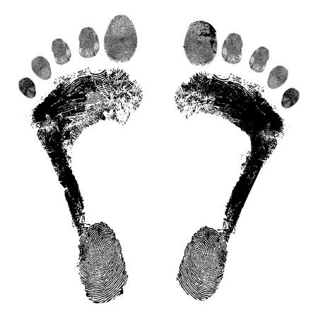 Footprint grunge icon, detailed image  Design element illustration  Illustration