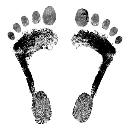 footprint: Huella grunge icono, dise�o detallado ilustraci�n imagen elemento