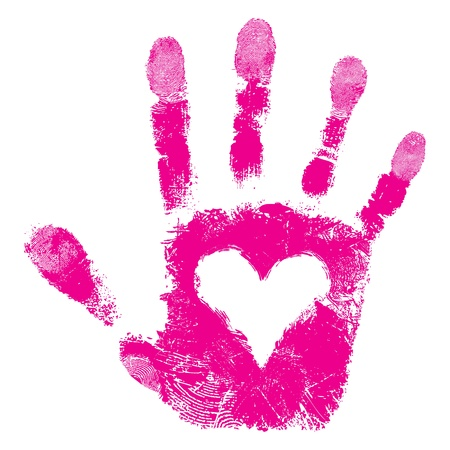 manos sucias: Coraz�n en la impresi�n de la mano, la gente apoya aislado patr�n lindo textura de la piel, el amor de San Valent�n fondo, ilustraci�n del grunge