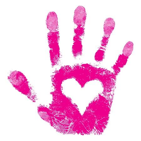 vieze handen: Hart in de hand druk, ondersteunen mensen geïsoleerd schattige huid textuur patroon, liefde valentijn achtergrond, grunge illustratie