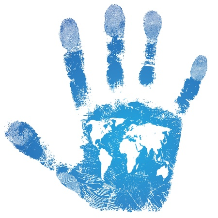 finger print: Hand world map print sign, people support travel, isolated skin texture pattern, touristic background,grunge illustration  Illustration