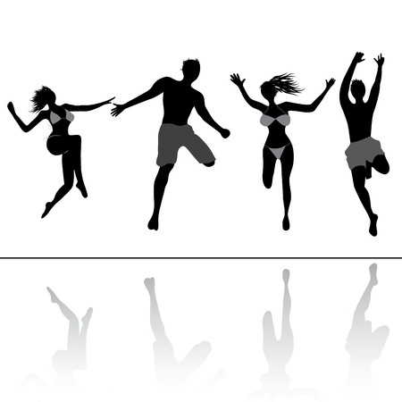 people in action: Jumping people friends. Healthy young man and woman in summer illustration. Adult girls and boys group in sport action.