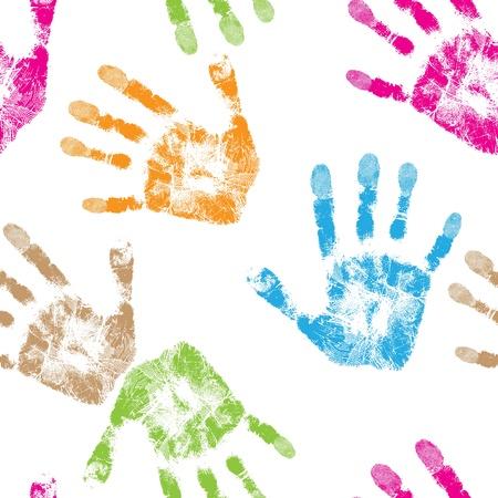 Afdrukken van de hand van kind, naadloze geïsoleerde schattige huid textuur patroon, grunge illustratie