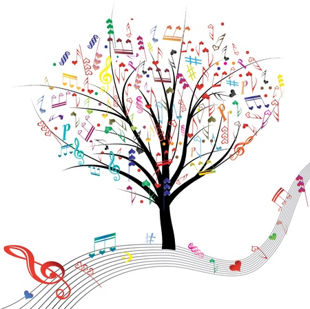 retro music: Music tree hearts note symbol vector on wave lines. Design love element. Valentine abstract background.