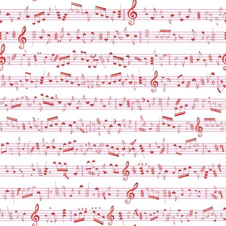 music banner: Muziek hartnoot geluid liefde textuur Naadloze valentine vector achtergrond Textielontwerpers element Geïsoleerd op wit