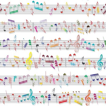 note musicali: Cuore Musica nota tessuto sonoro amore con ombra Seamless elemento di disegno vettoriale valentine background tessuto isolato su bianco Vettoriali