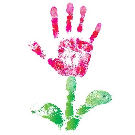 Palm afdruk bloem van de hand van kind als logo of pictogram teken, schattig huid textuur patroon, vector grunge illustratie Element voor ontwerp Stock Illustratie