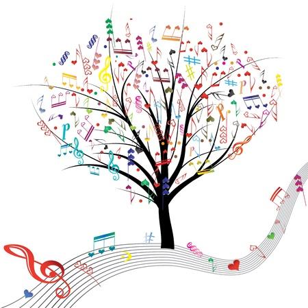 Música corazones, vector, símbolo del árbol en cuenta en la onda de diseño de líneas amor elemento de fondo de San Valentín abstracta Ilustración de vector