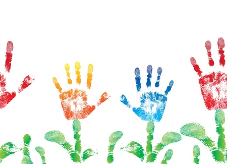 Seamless palm print flower of hand of child backgound, cute skin texture pattern, grunge illustration  Element for design