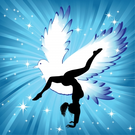 Woman in yoga bird asana sport on wave background  Girl silhouette pose in front of sky  Energy medicine illustration  Element for design  Vector